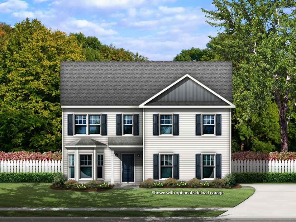 Fairview Elevation B with a sideload garage (vinyl)