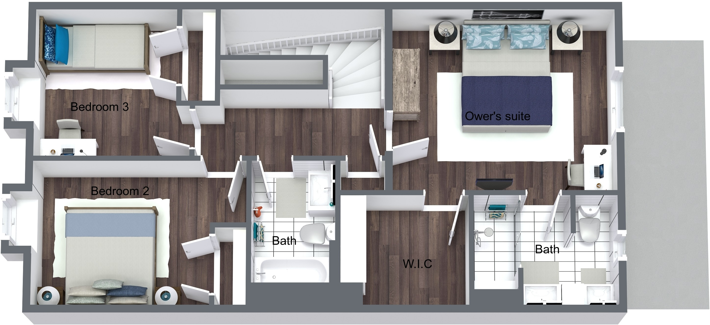 Holly Springs Townhomes - Lot 1 - Second Floor - 3D Floor Plan.jpeg