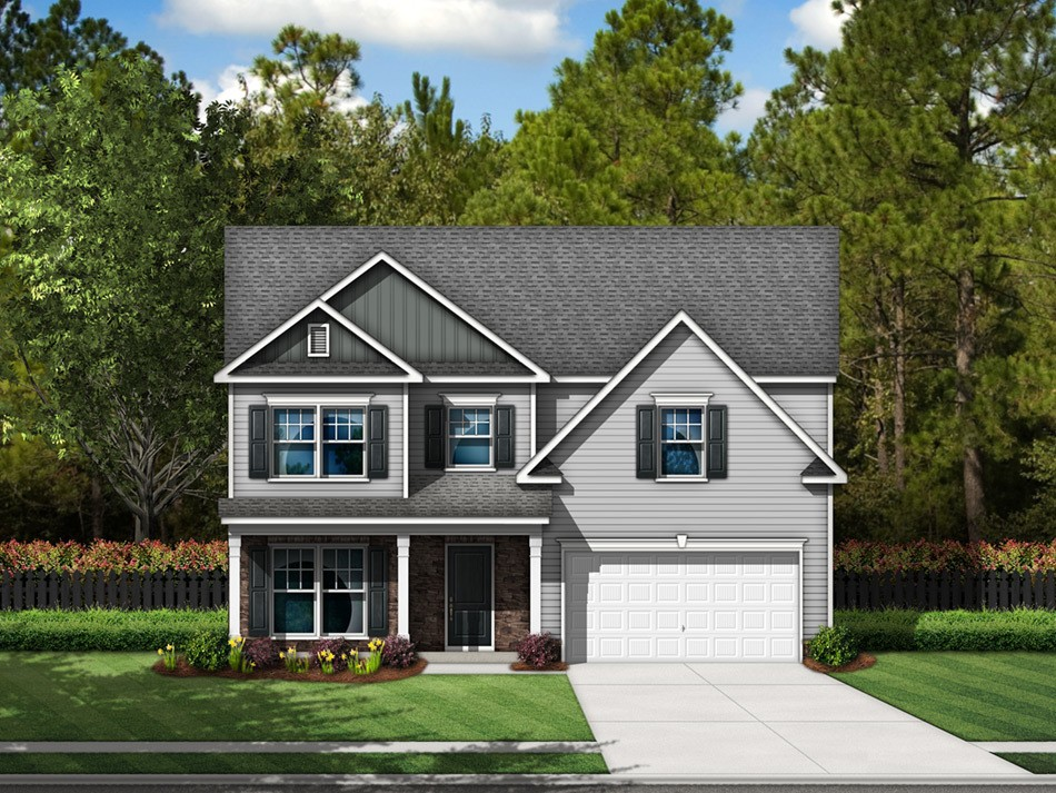Cooper Elevation B (vinyl with stone accent)