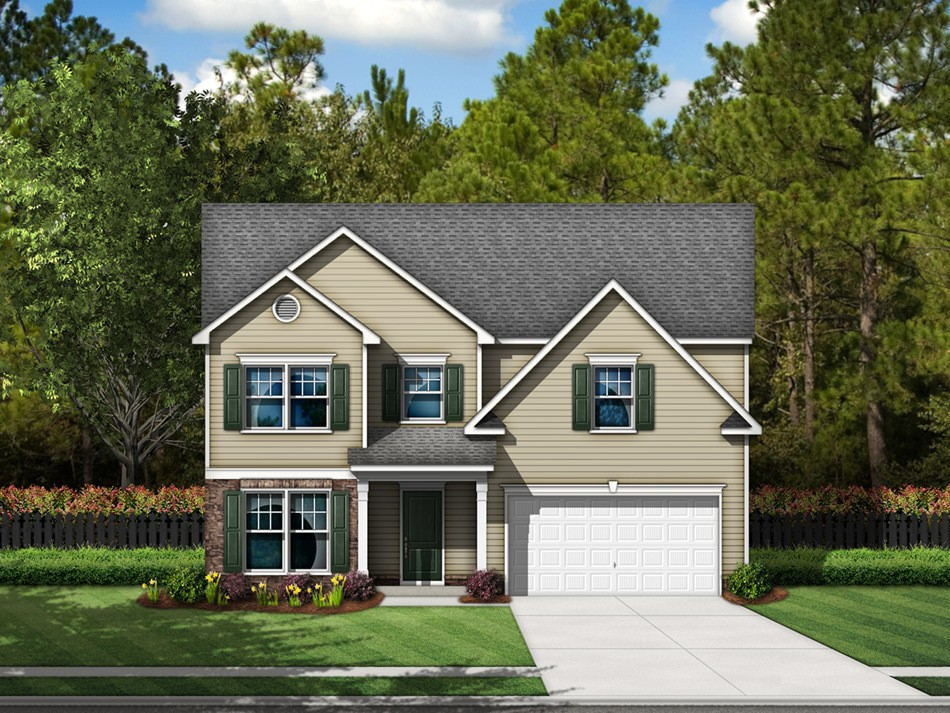 Cooper Elevation A (vinyl with stone accent)