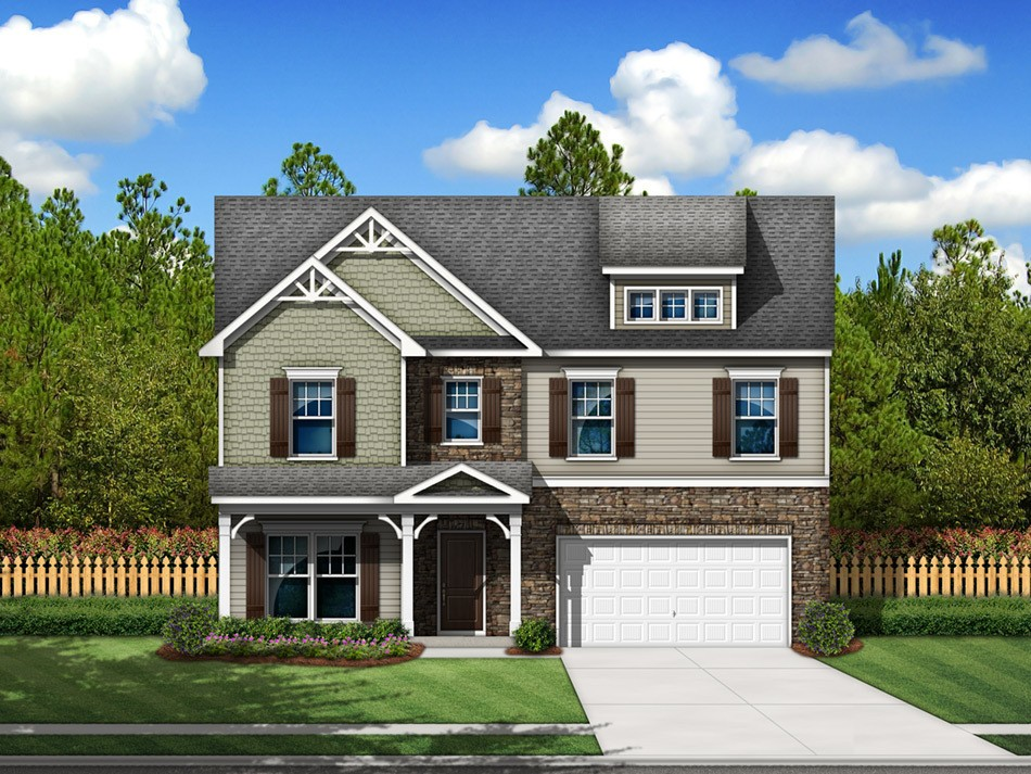 Pinewood Elevation E (vinyl with stone accent)