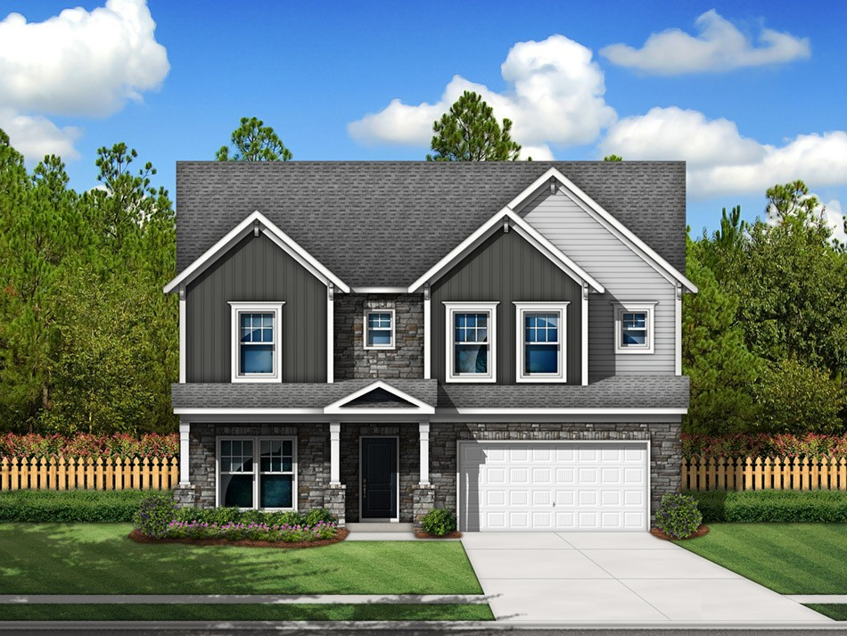Pinewood Elevation F (vinyl with stone accent)