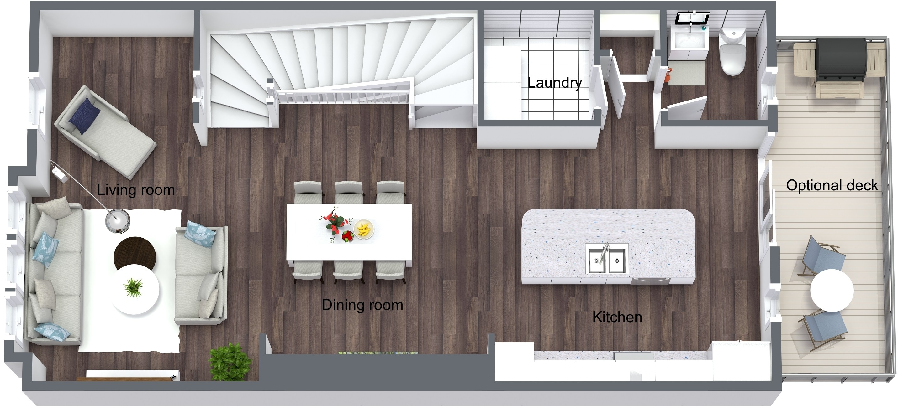 Holly Springs Townhomes - Lot 1 - First Floor - 3D Floor Plan.jpeg