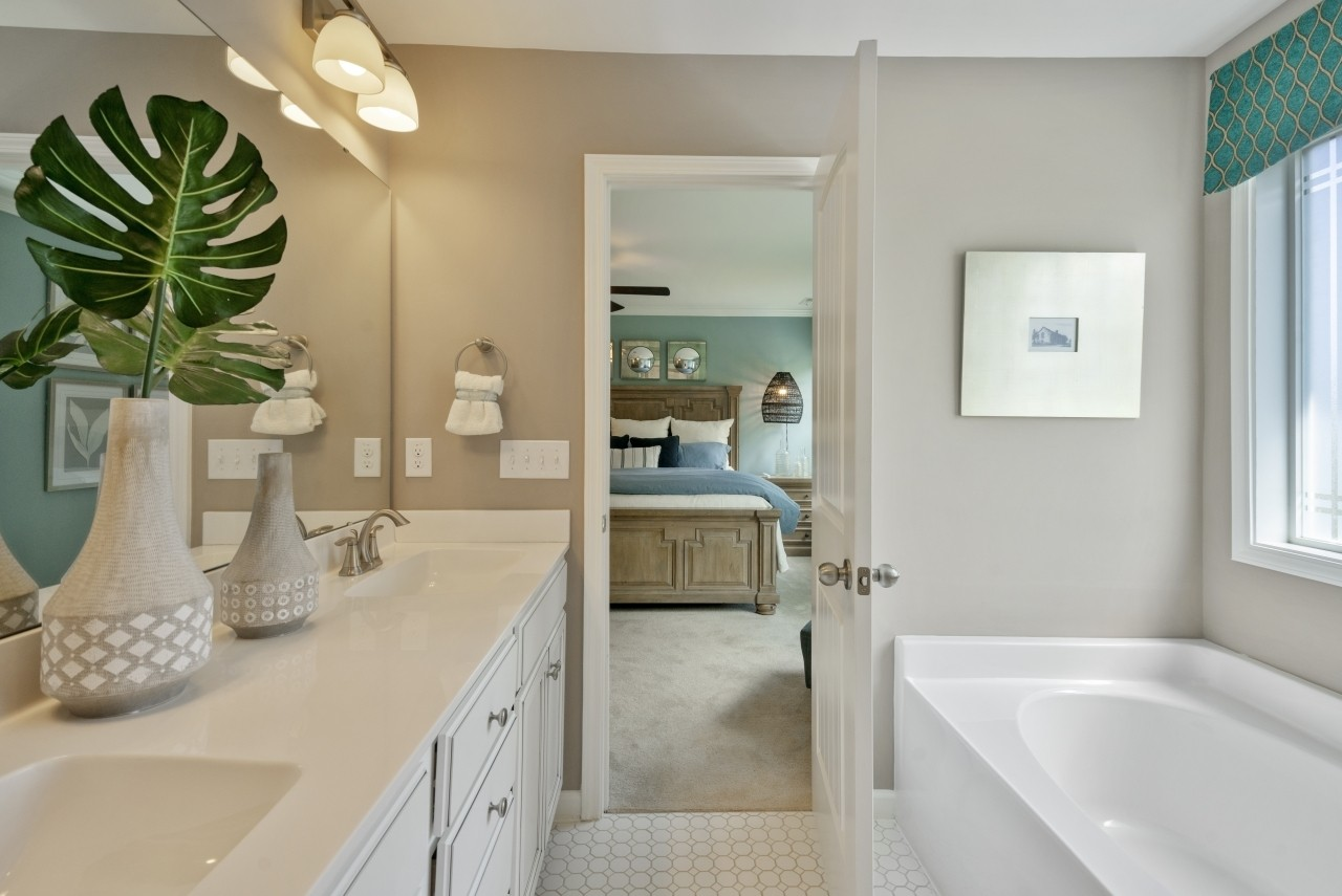 The Wilmington, Model Home, Bristol, Clayton NC, New Homes in Clayton NC, Owner's Bathroom, Maste...