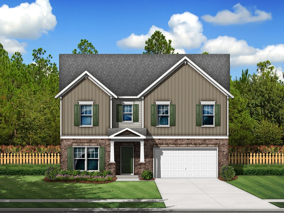 Pinewood Elevation D (vinyl with stone accent)