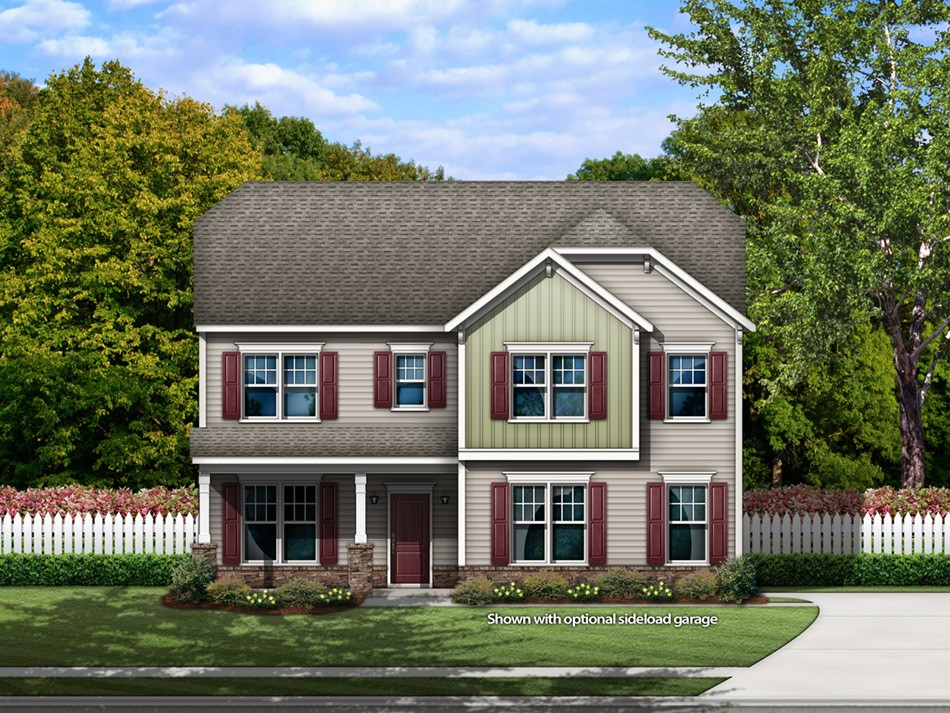 Fairview Elevation F with a sideload garage (vinyl with stone accent)