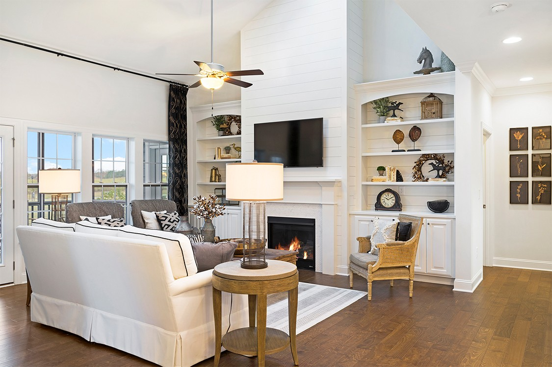 Royal Oaks a Division of Mattamy Homes, Wendell Falls, The Bennett, Family Room with Built-Ins an...