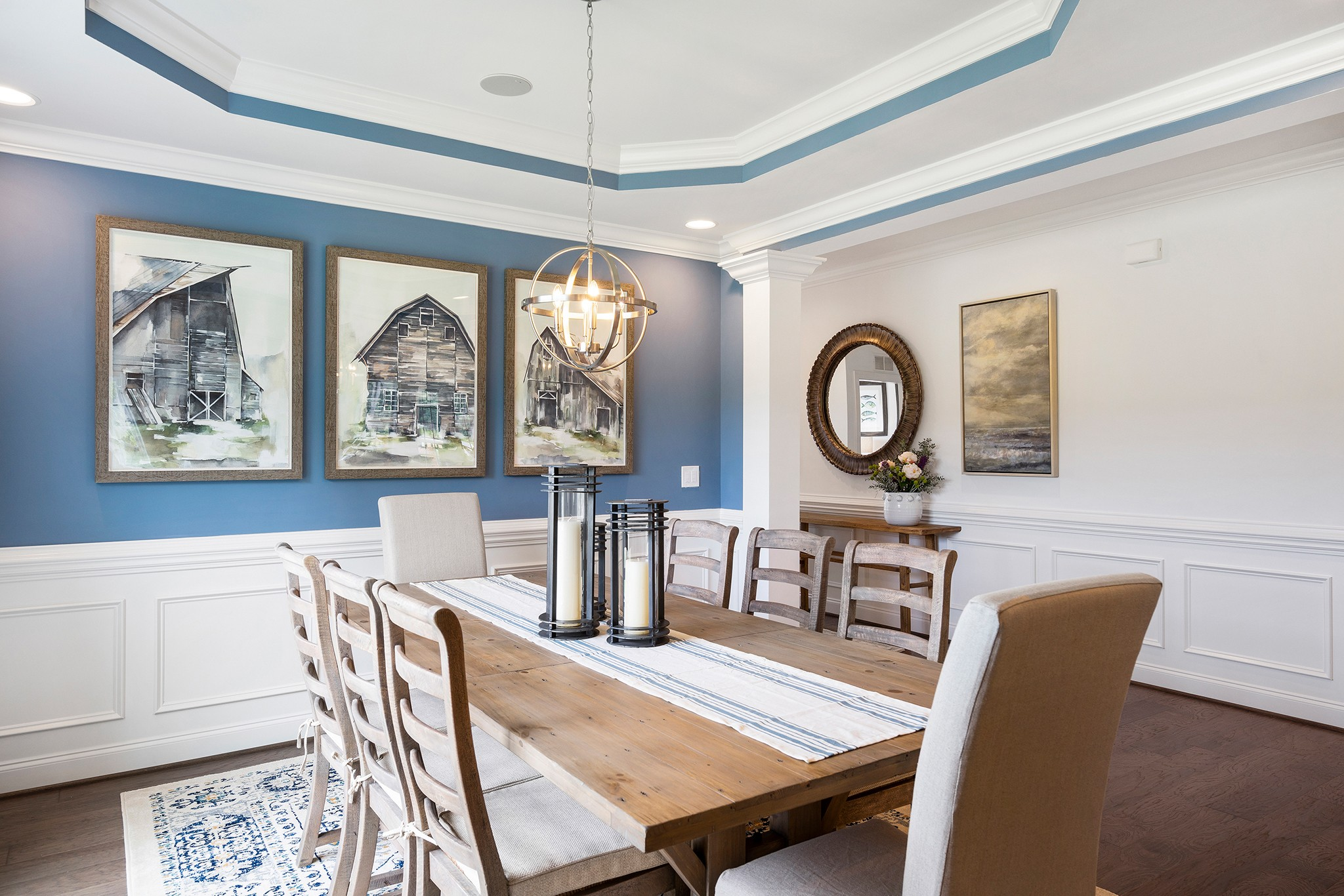 formal dining room, large open floor plan, tray ceiling