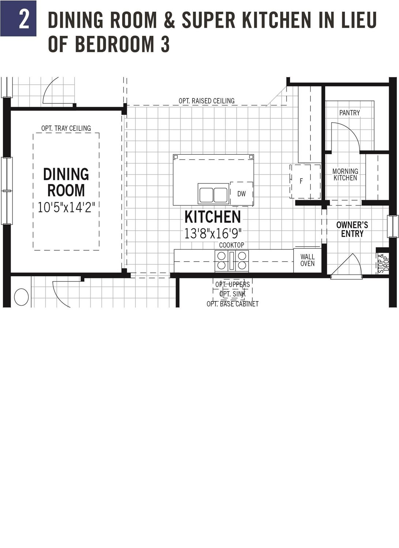 Dining Room & Super kitchen in lieu of bedroom 3