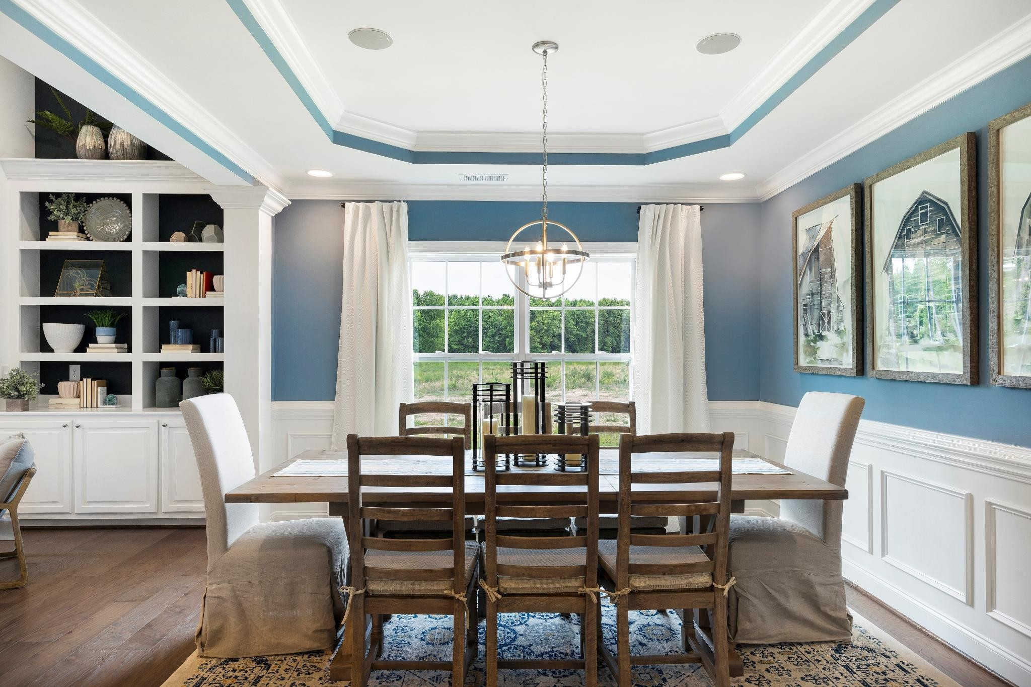 Formal Dining Room, Tray Ceiling, Shadow Box Wainscoting
